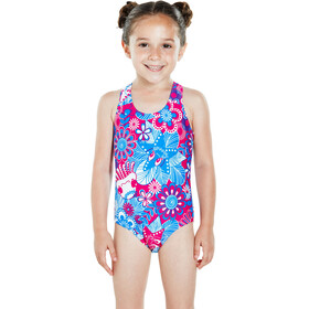 speedo Fantasy Flowers Essential All Over Swimsuit Toddlers Electric Pink/Neon Blue/White